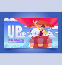 hot air balloons fest website with man in basket vector image