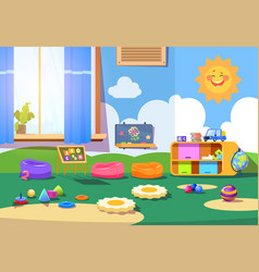 kindergarten room empty playschool room with toys vector image