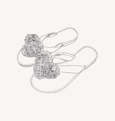 Leather greek sandals with pom pom - summer vector