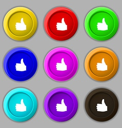 Like Thumb up icon sign symbol on nine round vector image