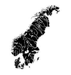 Map of scandinavia icon black color flat style vector