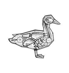 Mechanical duck bird animal sketch engraving vector