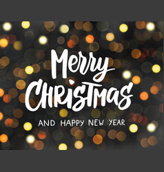 merry christmas and happy new year text holiday vector image