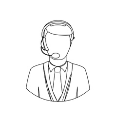 Monochrome contour with men operator with vector