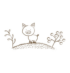 Monochrome hand drawn silhouette of pig in hill vector