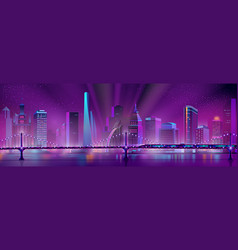 Neon megapolis background with speed train vector