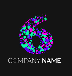 number six logo with pink purple green particles vector image