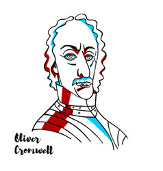 oliver cromwell portrait vector image