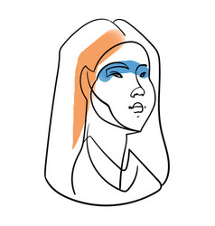 one line girl face portrait woman head vector image