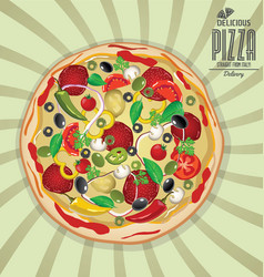 pizza background retro design 4 vector image