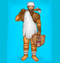 Pop art caveman with prey hunting concept vector