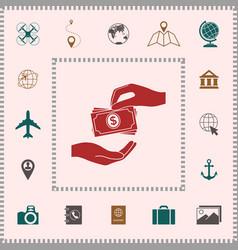 Receiving money banknotes stack icon cash stacks vector