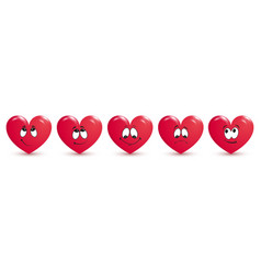 red heart collection icon love symbol isolated on vector image