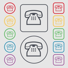 Retro telephone handset icon sign symbol on the vector