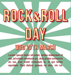 rock and roll day vintage 3d lettering vector image