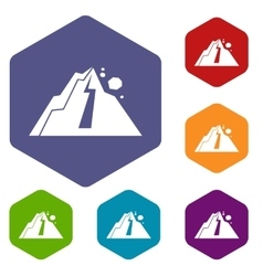 Rockfall icons set vector