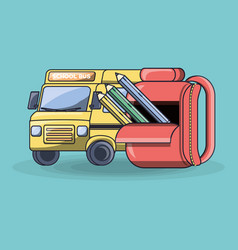 school bus with backpack vector image