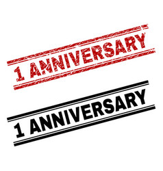 Scratched textured and clean 1 anniversary stamp vector