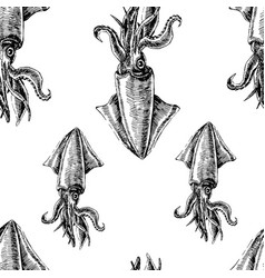 seamless pattern with squid marine wallpapers vector image