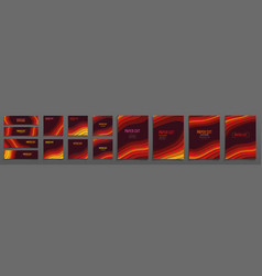 set creative vertical banners in paper cut vector image