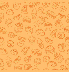 set of cartoon doodle icons junk food vector image