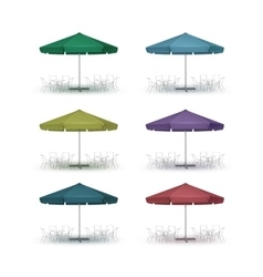 Set of Colored Outdoor Beach Cafe Round Umbrella vector