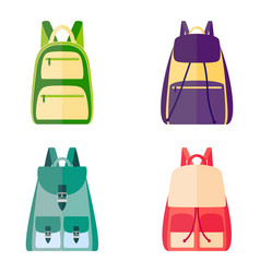 Set of colorful backpacks vector