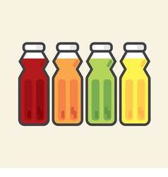 Set Of Colorful Fruit Juice Bottles Healthy Refres vector