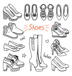 set of hand drawn women accessories shoes vector image