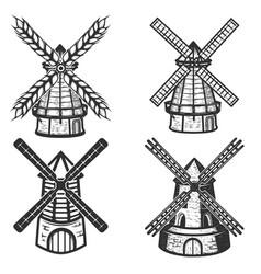 set windmills icons on white background vector image