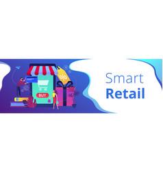 smart retail in smart city header banner vector image