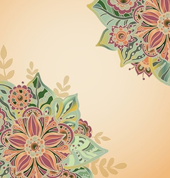 template with flowers and leaves for greeting card vector image
