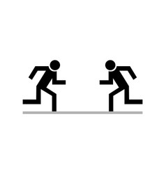 two black human icons running on against each vector image