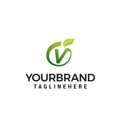 v logo initial letter design template with leaf vector image