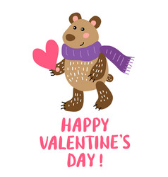 Valentine s day greeting card with bear vector