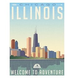 Vintage travel poster chicago skyline vector