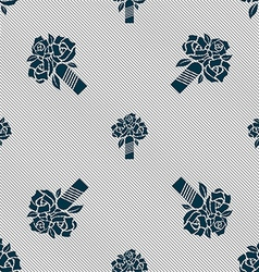 wedding bouquet icon sign Seamless pattern with vector image