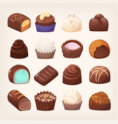 Wide selection chocolate sweets various form vector