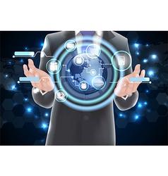 World technology communication concept globe vector