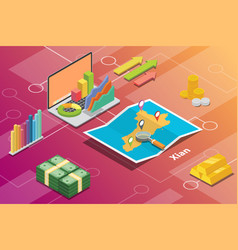 xian shaanxi province city isometric financial vector image