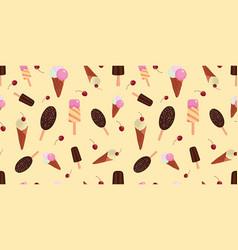 Yellow fun ice cream and cherries seamless pattern vector