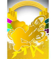 abstract summer background with bmx cyclist vector image