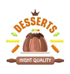 Cake shop badge with warm chocolate pudding vector image vector image