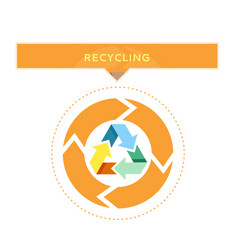 recycling logo design with circle graphic vector image vector image