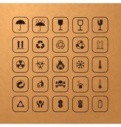 Set of black cargo symbols vector image