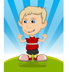 The boy laughing cartoon vector image vector image