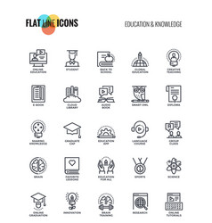 Flat line icons design-education and knowledge vector