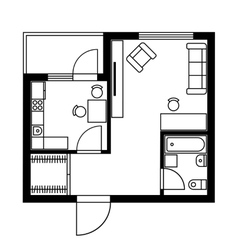 Floor Plan of a House with Furniture vector image