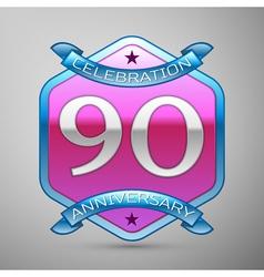 Ninety years anniversary celebration silver logo vector