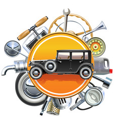 retro car parts with old automobile vector image vector image